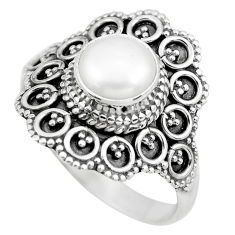 2.58cts natural white pearl 925 sterling silver solitaire ring size 8 p61631