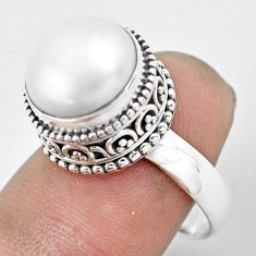 6.72cts natural white pearl 925 sterling silver solitaire ring size 8 p61682