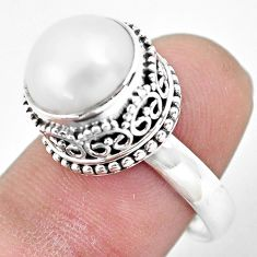 6.55cts natural white pearl 925 sterling silver solitaire ring size 8 p61692