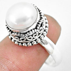 6.20cts natural white pearl 925 sterling silver solitaire ring size 8.5 p61694