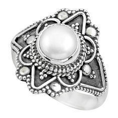 2.41cts natural white pearl 925 sterling silver solitaire ring size 7.5 p62871