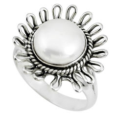 6.03cts natural white pearl 925 sterling silver solitaire ring size 7 p70050