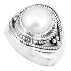 4.71cts natural white pearl 925 sterling silver solitaire ring size 8.5 p70352