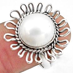 6.03cts natural white pearl 925 sterling silver solitaire ring size 7 p78973