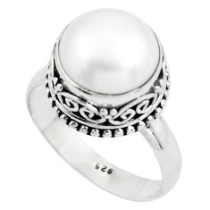 6.94cts natural white pearl 925 sterling silver solitaire ring size 9 p78993