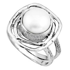 4.73cts natural white pearl 925 sterling silver solitaire ring size 6.5 p91049
