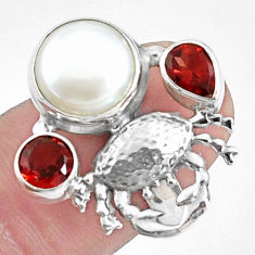 7.22cts natural white pearl garnet 925 sterling silver crab ring size 7 p42836