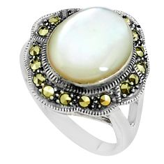 5.95cts natural white pearl marcasite 925 silver solitaire ring size 6.5 c2929