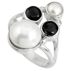 6.02cts natural white pearl onyx 925 sterling silver ring size 6.5 p90682
