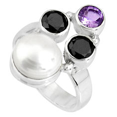 6.04cts natural white pearl onyx amethyst 925 silver ring jewelry size 7 p90683
