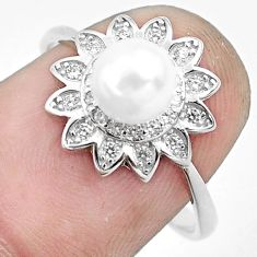2.72cts natural white pearl topaz 925 silver solitaire ring size 6.5 c1241