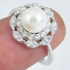 3.17cts natural white pearl topaz 925 silver solitaire ring size 6.5 c2879