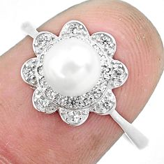 2.37cts natural white pearl topaz 925 silver solitaire ring jewelry size 8 c1206
