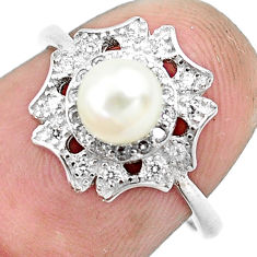 2.92cts natural white pearl topaz 925 silver solitaire ring jewelry size 6 c1254