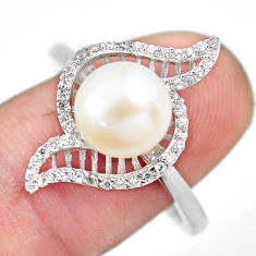 4.69cts natural white pearl topaz 925 silver solitaire ring jewelry size 8 c2823