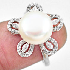 5.82cts natural white pearl topaz 925 silver solitaire ring jewelry size 6 c2826