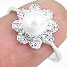 2.59cts natural white pearl topaz round 925 sterling silver ring size 7 c1287