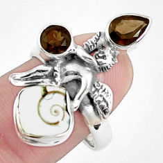 6.57cts natural white shiva eye 925 silver angel wings fairy ring size 8 p42793