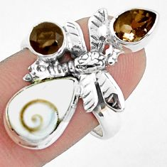 7.83cts natural white shiva eye 925 silver butterfly ring size 8.5 p42788