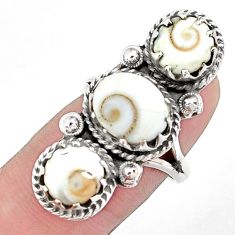 8.42cts natural white shiva eye 925 silver ring jewelry size 6 p42390