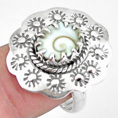 4.02cts natural white shiva eye 925 silver solitaire ring size 7.5 p60339