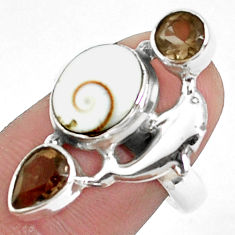 7.40cts natural white shiva eye smoky topaz 925 silver ring size 7.5 p42786