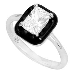 1.74cts natural white topaz enamel 925 sterling silver ring jewelry size 7 c2633