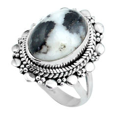 Clearance Sale- 6.00cts natural white zebra jasper 925 silver solitaire ring size 6 d32092