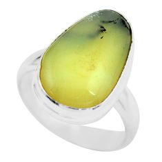6.03cts natural yellow amber bone 925 silver solitaire ring size 5 d32166