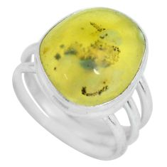 11.37cts natural yellow amber bone 925 silver solitaire ring size 8.5 d32202