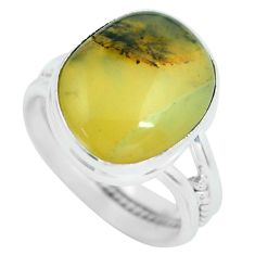 10.76cts natural yellow amber bone 925 silver solitaire ring size 7.5 d32205