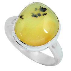5.81cts natural yellow amber bone 925 silver solitaire ring size 7 d32208