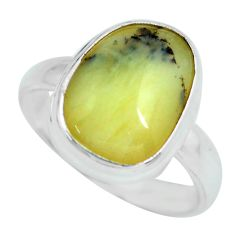 5.38cts natural yellow amber bone 925 silver solitaire ring size 7 d32214