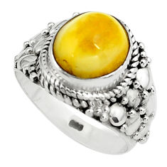4.40cts natural yellow amber bone 925 silver solitaire ring size 7 p80965