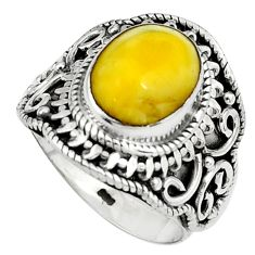 4.71cts natural yellow amber bone 925 silver solitaire ring size 6.5 p80969