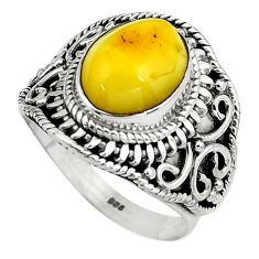 5.01cts natural yellow amber bone 925 silver solitaire ring size 8.5 p80970