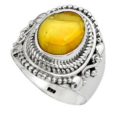 5.12cts natural yellow amber bone 925 silver solitaire ring size 8 p80972