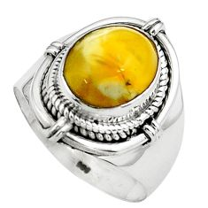 5.07cts natural yellow amber bone 925 silver solitaire ring size 8 p80980