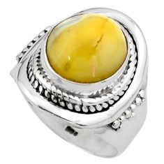 4.52cts natural yellow amber bone 925 silver solitaire ring size 6.5 p88851