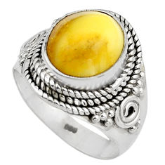 5.16cts natural yellow amber bone 925 silver solitaire ring size 7 p88854