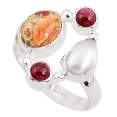 6.83cts natural yellow brecciated mookaite pearl 925 silver ring size 7.5 p52582