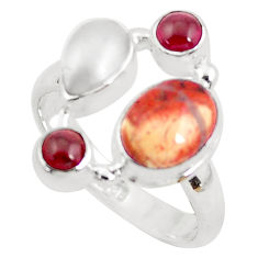 6.83cts natural yellow brecciated mookaite pearl 925 silver ring size 8 p52643