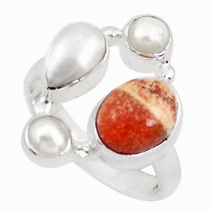 6.58cts natural yellow brecciated mookaite pearl 925 silver ring size 7 p52644