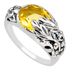 4.13cts natural yellow citrine 925 silver solitaire flower ring size 7.5 p81628