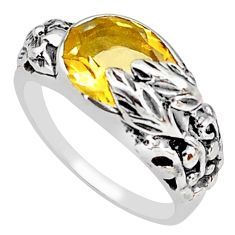 4.13cts natural yellow citrine 925 silver solitaire flower ring size 6.5 p81629