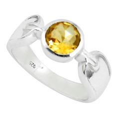 2.44cts natural yellow citrine 925 silver solitaire ring jewelry size 8.5 p37059