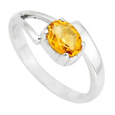 1.49cts natural yellow citrine 925 silver solitaire ring jewelry size 6.5 p37081