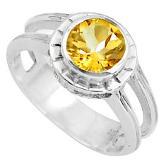 2.56cts natural yellow citrine 925 silver solitaire ring jewelry size 5.5 p37139