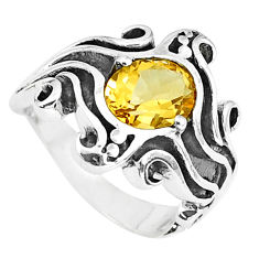 3.08cts natural yellow citrine 925 silver solitaire ring jewelry size 6.5 p37246