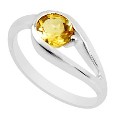 0.81cts natural yellow citrine 925 silver solitaire ring jewelry size 5.5 p37332